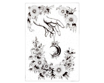 A4 Floral hand illustration - Black and white art print
