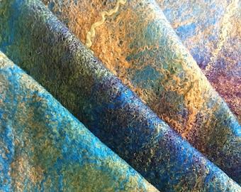 Cobweb Scarf, Colorful Scarf, Felt Wool Merino Shawl, Soft Wrap, Unique Gift, AmuseByAnjaMusek