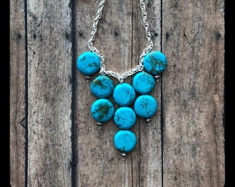 Tuquoise Moon Cascading Necklace