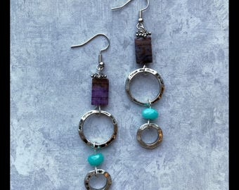 Purple Gemstone and Turquoise Glass with Hoops