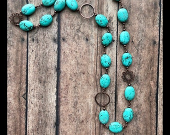 Turquoise and Copper Chain Necklace