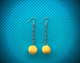 Yellow Dangling Puff Earrings