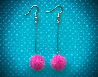 Hot Pink Puff Earrings