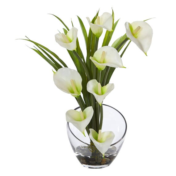 155 Calla Lily And Grass Artificial Arrangement In Vase Etsy