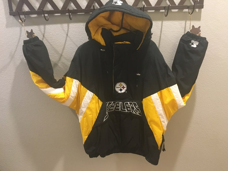 c032f5a7f Men s Vintage Pittsburgh Steelers Hooded Coat   Parka