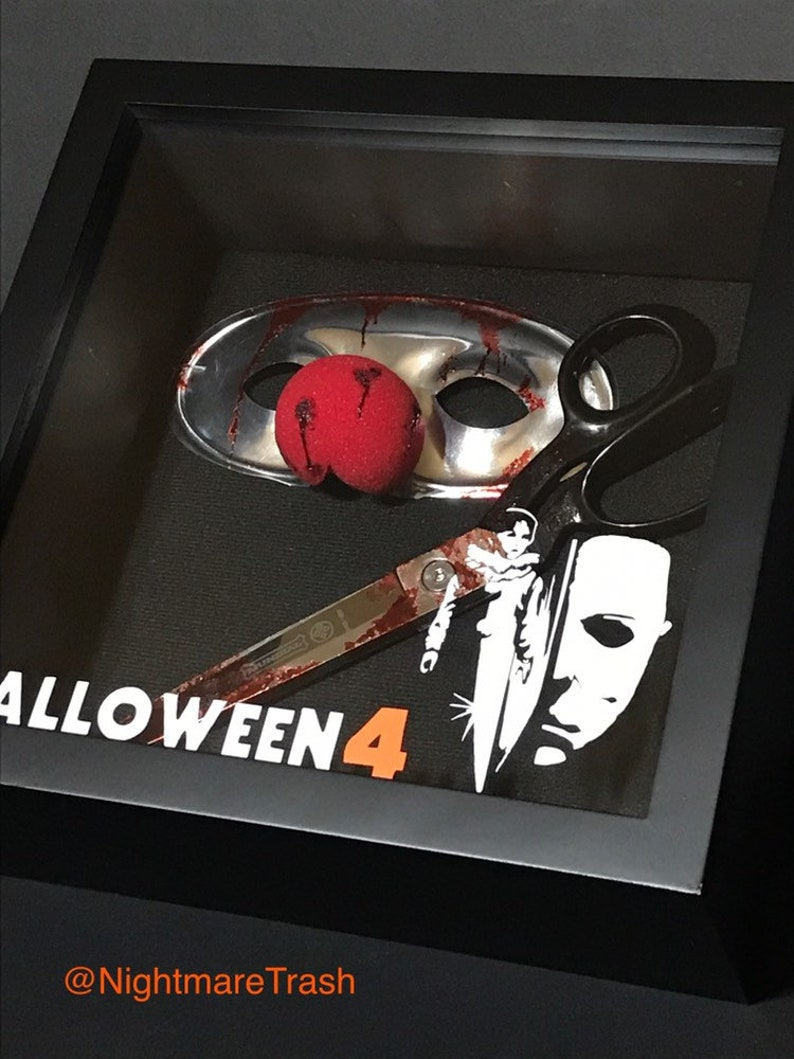 Halloween Clown Mask Michael Myers.Halloween 4 Iv Jamie Lloyd Michael Myers Mask Real Scissors Display Shadow Box Horror Movie Prop Collectible Screen Accurate Custom Rare