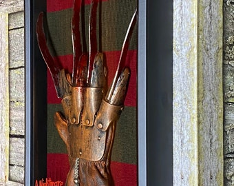 Freddy Krueger A Nightmare On Elm Street Glove and Sweater Display Horror Movie Prop Collectible in Shadow Box Frame