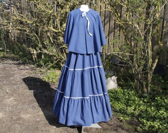 Beautiful blue Charles Dickens outfit, Shirt with matching cape. Size M, L, XL