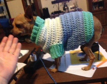 5lb dog sweater. Have various colours and can make to order.