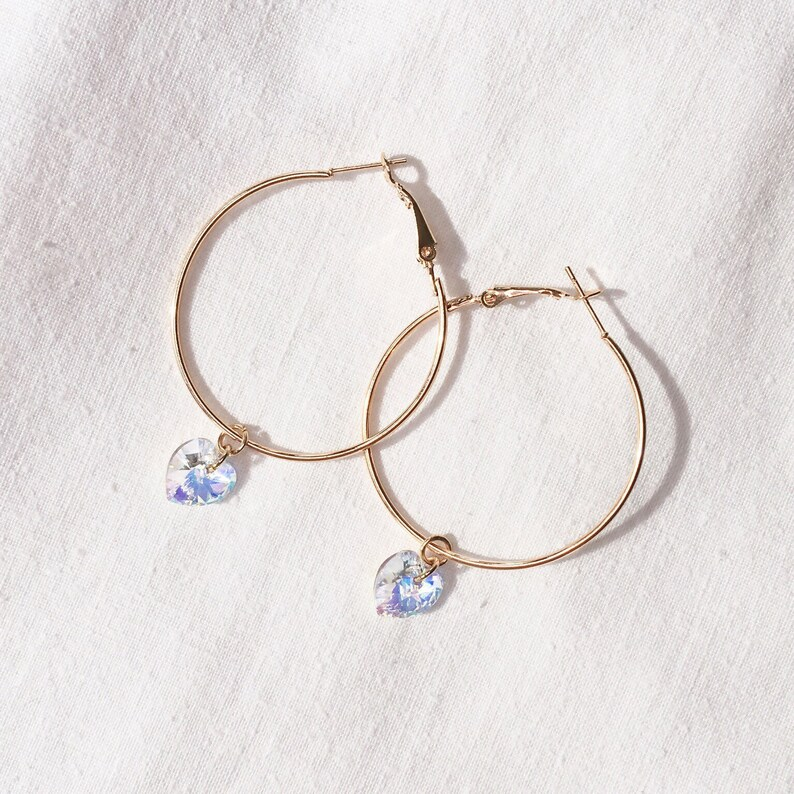 d42fb5d46 24K Gold plated Hoop Earring with Swarovski crystal Heart   Etsy