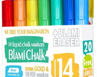 Blami Arts Chalk Markers 14 Pack With Free 20 Chalkboard Labels