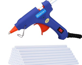 Blusmart Upgraded Mini Hot Glue Gun with 30 Pieces Melt Glue Sticks, 20 Watts Blue High Temperature Glue Gun