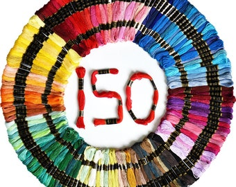 Embroidery Floss threads 150Color Friendship Bracelets Floss Rainbow Color 100% cotton threads 6 Strands 8.75 Yard