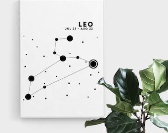 Leo Constellation Print, Print Art, Black and White Astrology Print, Abstract Art, Zodiac Art, Minimalist Art, Digital Art, Printable Art