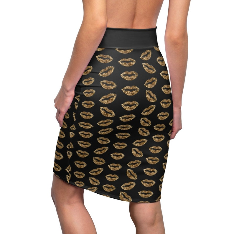 Black Leopard Lips Women/'s Pencil Skirt Vintage Style Clothing Gift for Her Mid-Waist Fit,