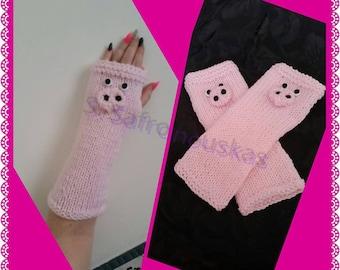 Pink Piggy Handknitted Handwarmers
