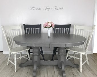 SOLD Custom Finish Available Farmhouse Dining Set Table Painted Oak