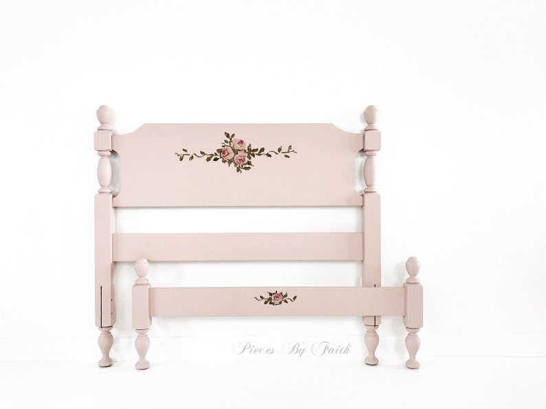 Pink Twin Size Bed, Vintage Bed, Princess Bed, Pink Bed, Girl Bedroom  Furniture, Twin Bed, Painted Bed
