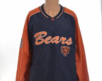 Vtg Chicago Bears NFL Men's 3XL Orange Blue Vintage L/S Pullover Sweater Jacket