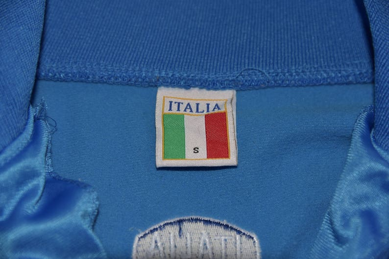 ITALIA Men/'s S Small Blue Embroidered Long Sleeve Full Zip Sweater