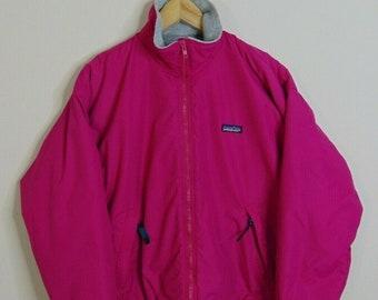 fb4600e87f5f2 Vintage Patagonia Womens 14 Fleece Lined Windbreaker Rain Jacket Pink USA  90s
