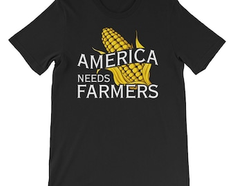 America Needs Farmers T-Shirt, Proud Farming Tee, Protect The Farms, Gift For Farmers, Corn Field Shirt