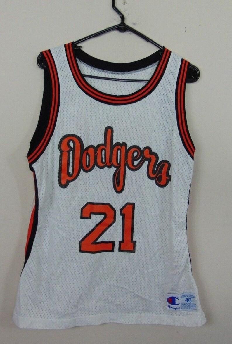 Vintage Champion 40 Dodgeville Dodgers Basketball Jersey 21  01f84a8591e
