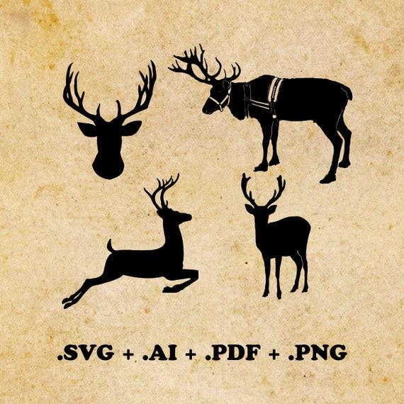 Christmas Reindeer Png.Christmas Reindeer Svg Ai Pdf Png Christmas Clipart Christmas Svg Silhouette Files Cut Png File Christmas Deer Instant Download