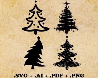 Christmas Tree svg, ai, pdf, png Christmas Clipart Christmas Svg Silhouette Files Cut Png File Christmas Tree vector Christmas cut file svg