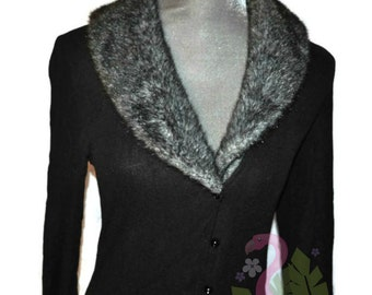 Vintage FREDERICK'S OF HOLLYWOOD Black Robe Large Long Duster Faux Fur Collar