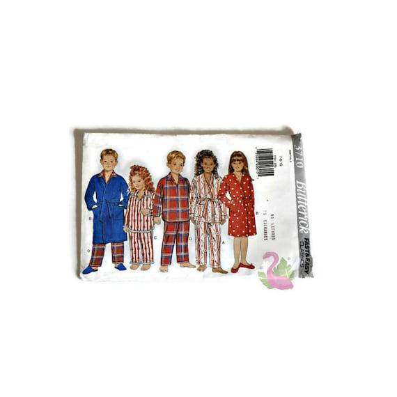 3710 UNCUT Vintage Butterick SEWING Pattern Childrens Pajamas Robe Belt Pants FF