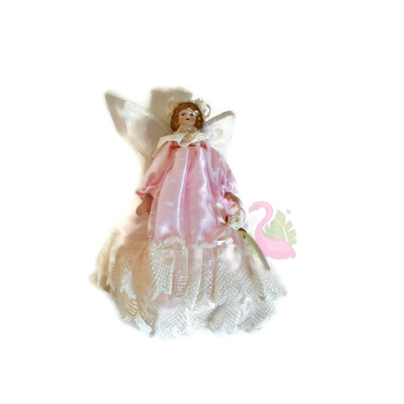 Angel Christmas Tree Topper.Vintage Angel Christmas Tree Topper Pink Lace Dress Holiday Ornament
