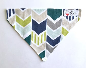 Dog Bandana, Chevron Dog Bandana, Large Dog Bandana, Dog Collar Bandana, Mod Dog Bandana, Geometric Dog Bandana, Nautical Bandana, Collar