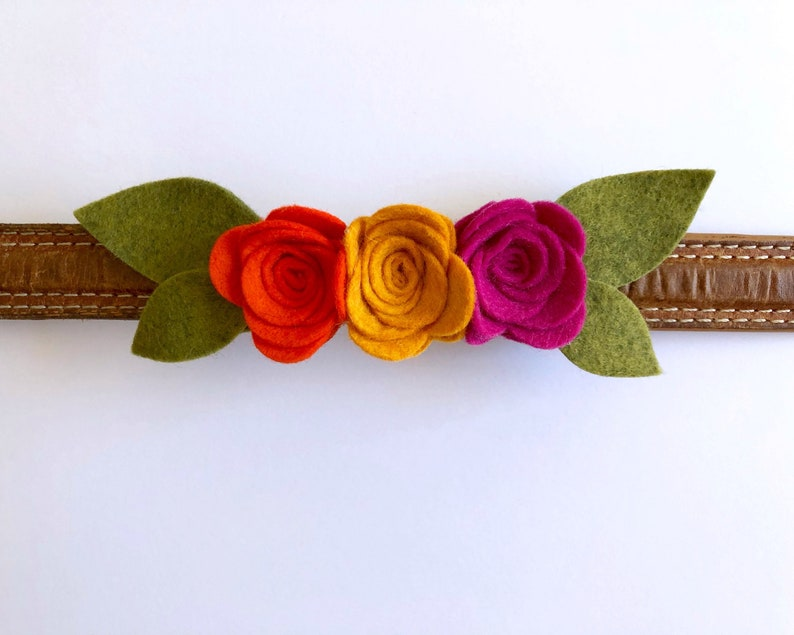Dog Collar Add on 2 Rose Flower colors Felt Flower Ornament Choose your sizes Cat Collar Slider Puppy and Kitten Accessory Lot of 4