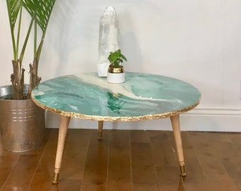 Coffee table, side table, Coffee Table, table décor, epoxy, artwork, blue, white, gold, gold leaf, gemstone, jade.