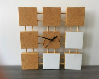 The Punctual wooden clock, wall clock, square clock, modern clock, geometric clock, clock with hands, made in Quebec,