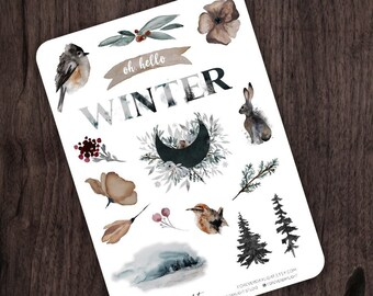 Planner Stickers WINTER Woodlands, Watercolor Stickers with hand drawn Forest, Animals and Winter images, great for Bullet Journaling