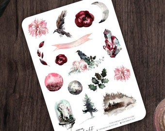 """Planner Stickers WINTER """"Ravenfields"""", Watercolor Stickers with hand drawn Forest, Birds and Moon images, great for Bullet Journaling"""