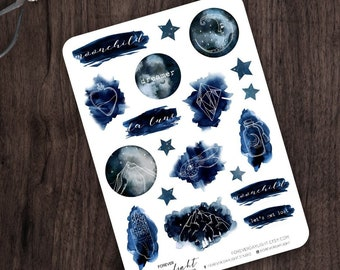 Planner Stickers MOON CHILD | Watercolor Stickers | Dreamy Stickers | Moon Stickers | Winter Stickers | Boho Stickers | Pagan | Wicca