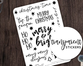 """Transparent Stickers """"MERRY & BRIGHT"""" Hand Lettered Christmas Quotes 