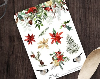 Planner Stickers WINTER Poinsettia, Watercolor Stickers with hand drawn Christmas Floral, Birds & Winter images, great for Bullet Journaling