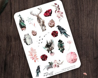 """Planner Stickers WINTER """"Ravenwoods"""", Watercolor Stickers with hand drawn Forest, Birds and Moon images, great for Bullet Journaling"""