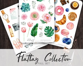Planner Stickers Flatlay Collection | hand painted blogger style Watercolor Stickers, beauty, fashion, florals & food items, bullet journal