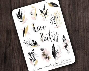 """Sticker """"Love & Poetry""""    Aquarell-Aufkleber   Blumen Aufkleber   Blumen Aufkleber   Einfügen   Elegante   Boho   Moderne   Minimalistisch"""