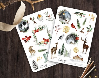 Planner Stickers WINTER MOON, Watercolor Stickers with hand drawn Winter and Christmas Florals, Deer and Wolf, great for Bullet Journaling