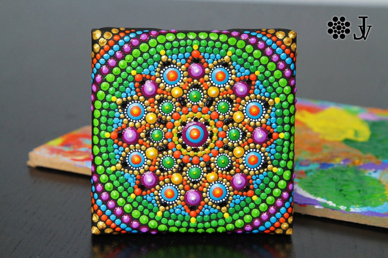 Mandala Dot Art Home Boho Decor Acrylic Paint On Canvas Etsy