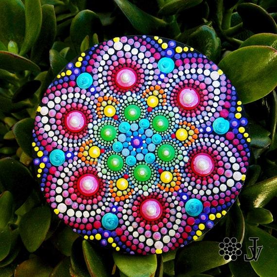 Magnetic painted canvas dotart \u2013 kitchen decor Dot Art canvas fridge magnet 7