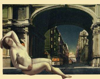 Danae takes the tram, collage, photomontage, postcard
