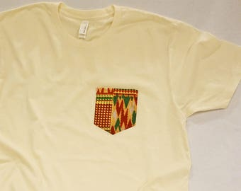 African Textile Pocket Tee - Off White