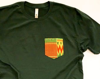 African Textile Pocket Tee - Forest Green